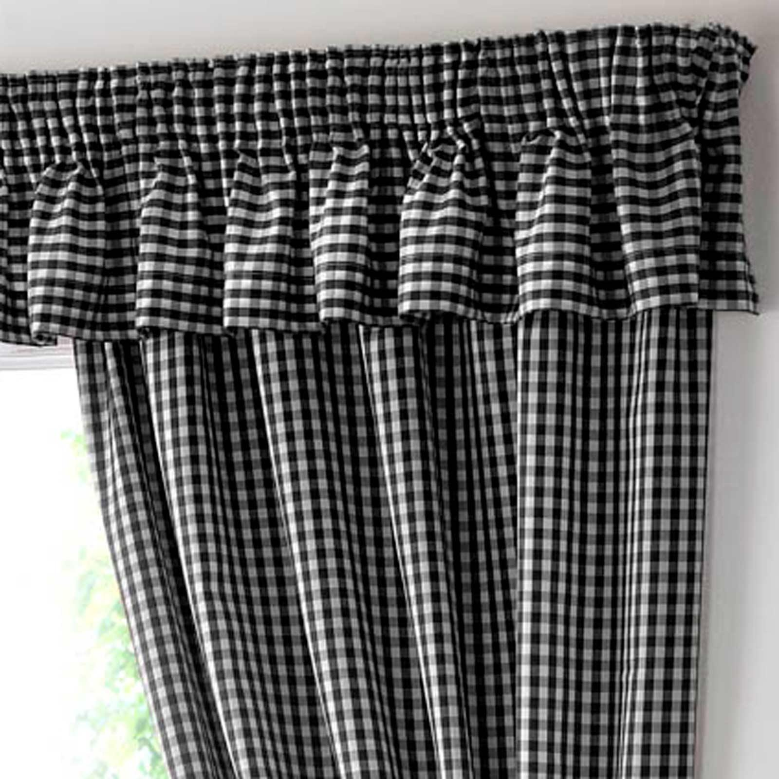 Gingham Check Black Tape Top Kitchen Curtains Ideal Textiles