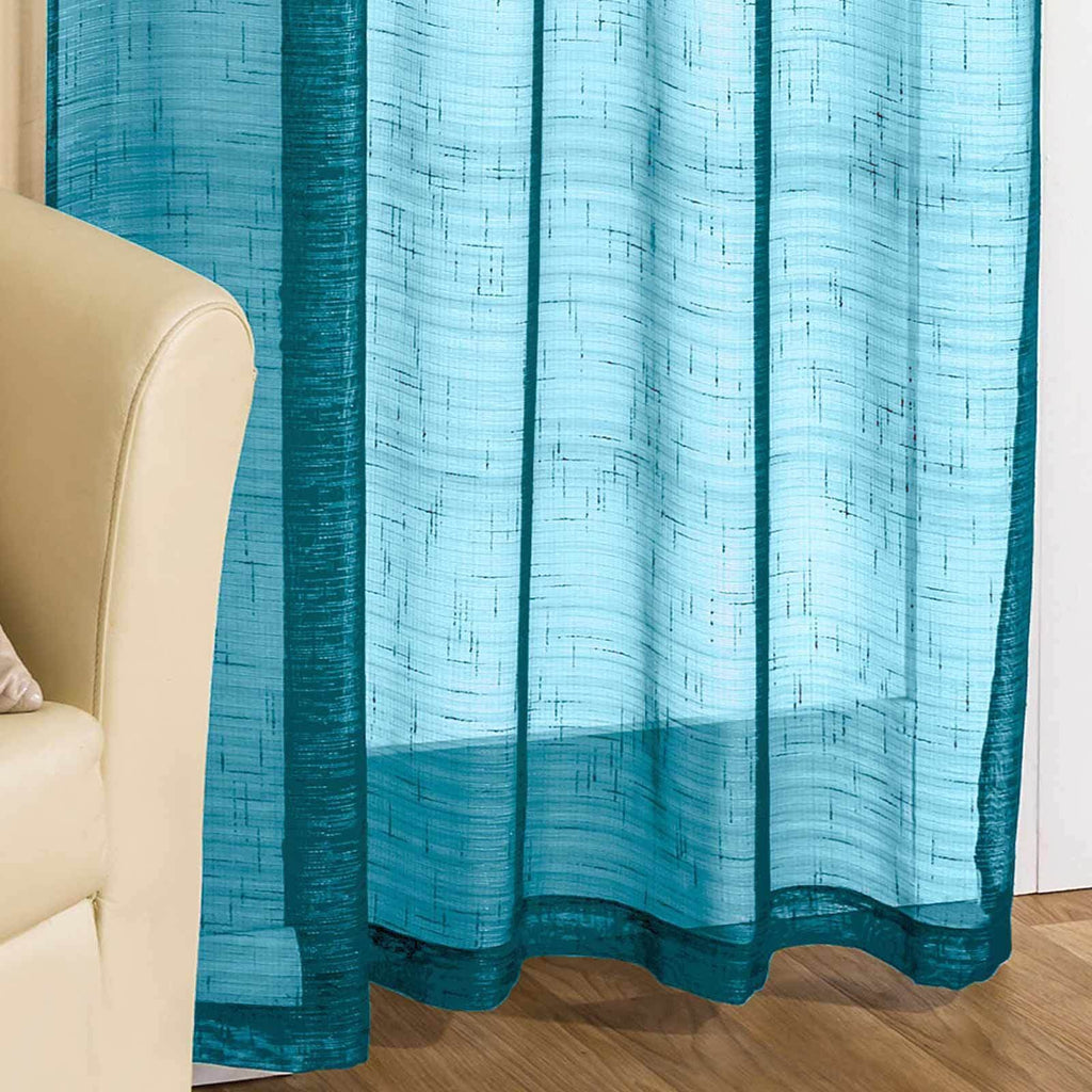 Casablanca Sparkle Voile Curtain Panels Teal - Ideal Textiles