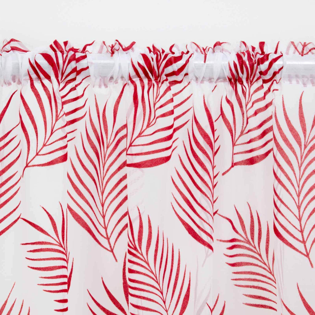 Fern Voile Curtain Panels Red - Ideal Textiles