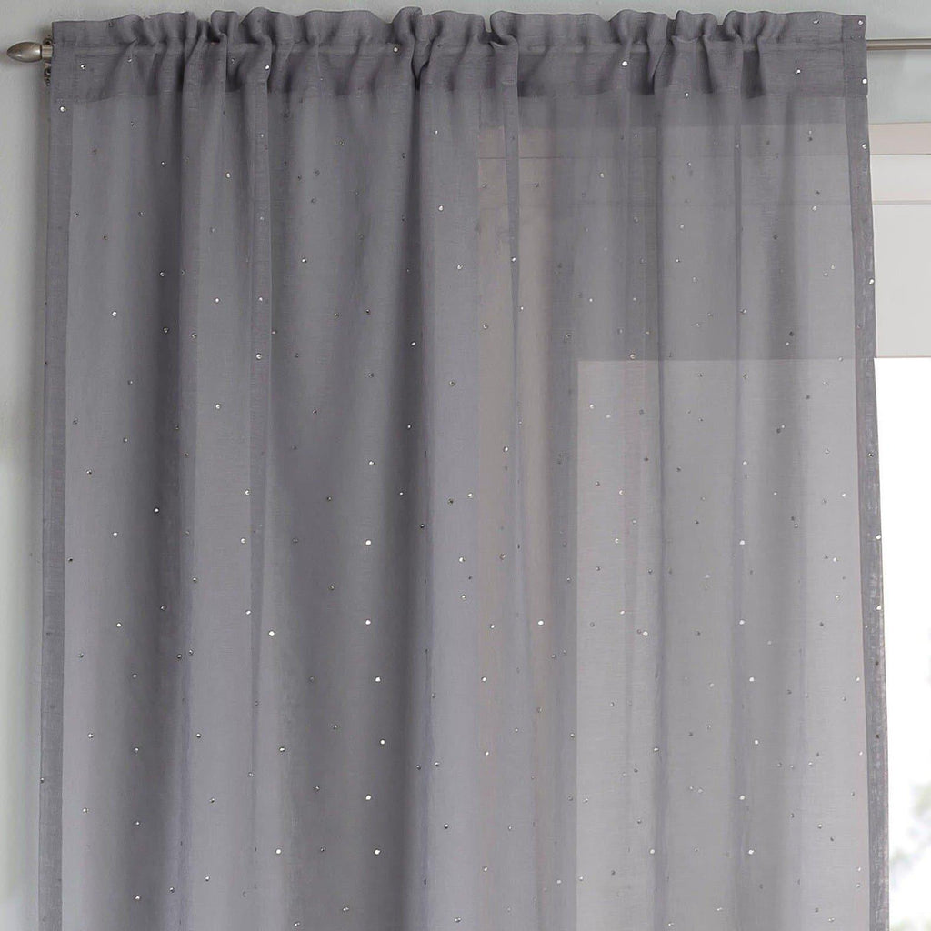 Jewel Voile Curtain Panels Grey - Ideal Textiles