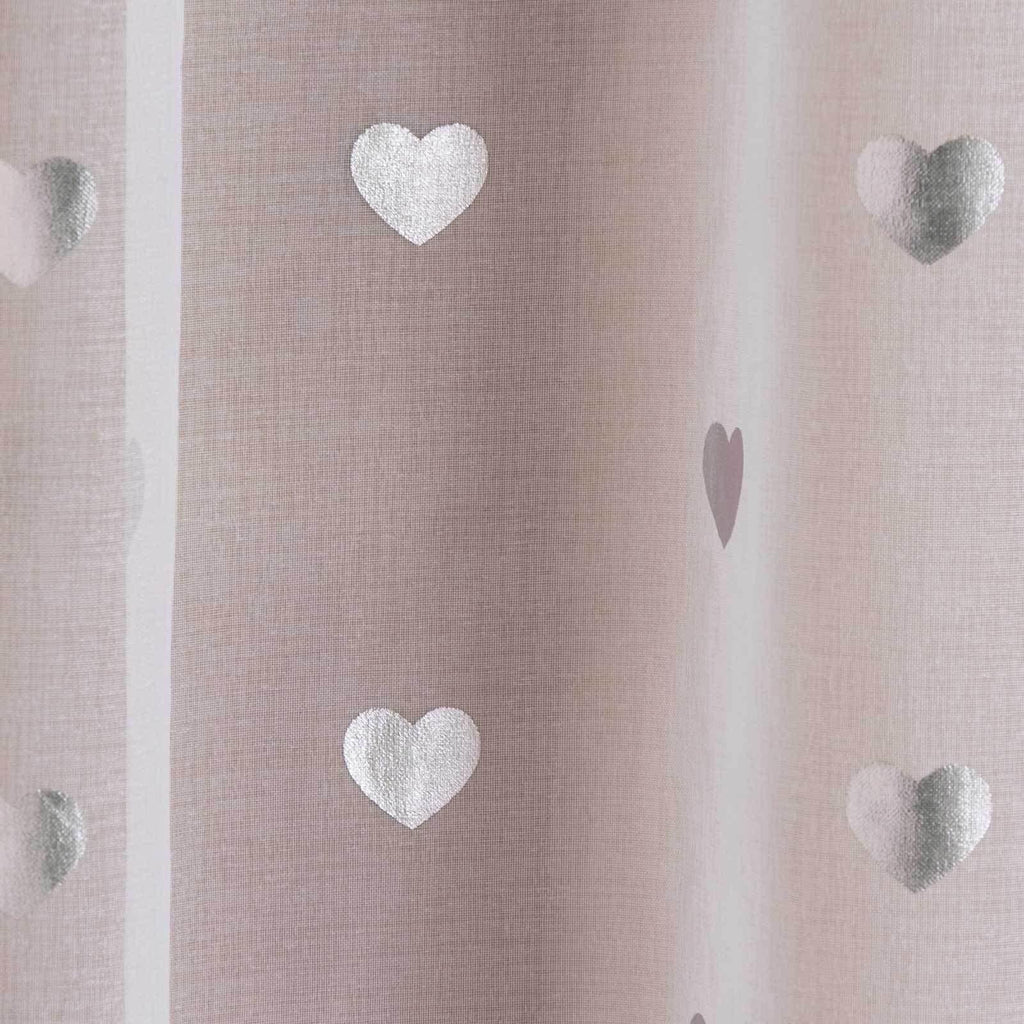 Hearts Voile Curtain Panels White - Ideal Textiles
