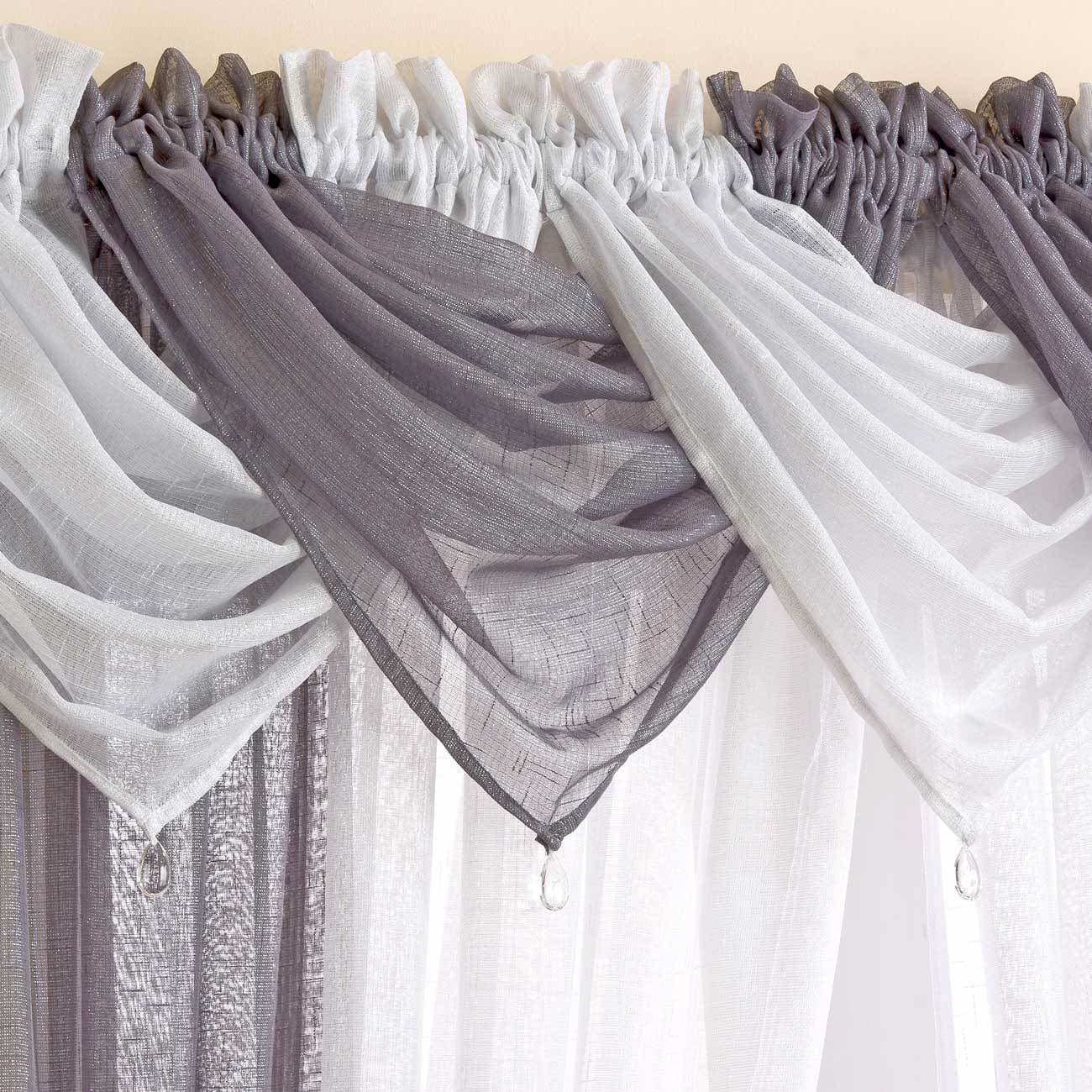 Casablanca Sparkle Grey Voile Curtain Swags -  - Ideal Textiles