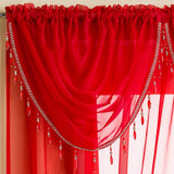 Enhanced Living Voile Swag Red Sapphire Beaded Voile Curtain Swags