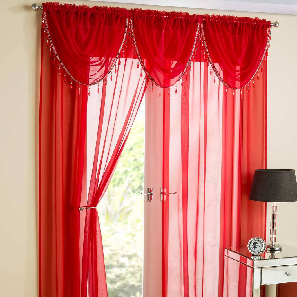 Enhanced Living Voile Swag Sapphire Beaded Voile Curtain Swags