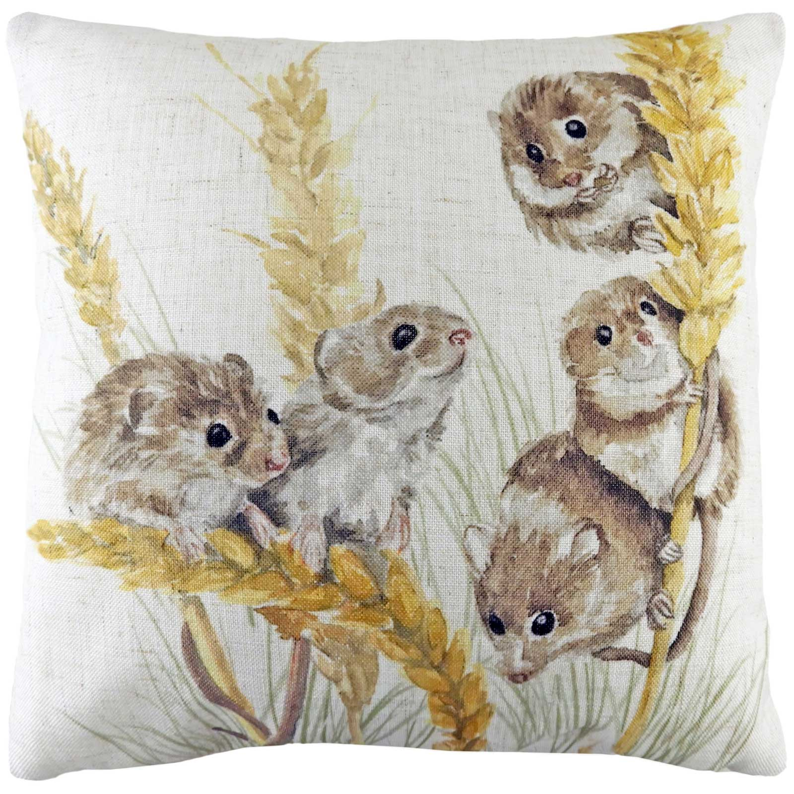 Woodland Field Mice Watercolour Natural Cushion Covers 17'' x 17'' -  - Ideal Textiles