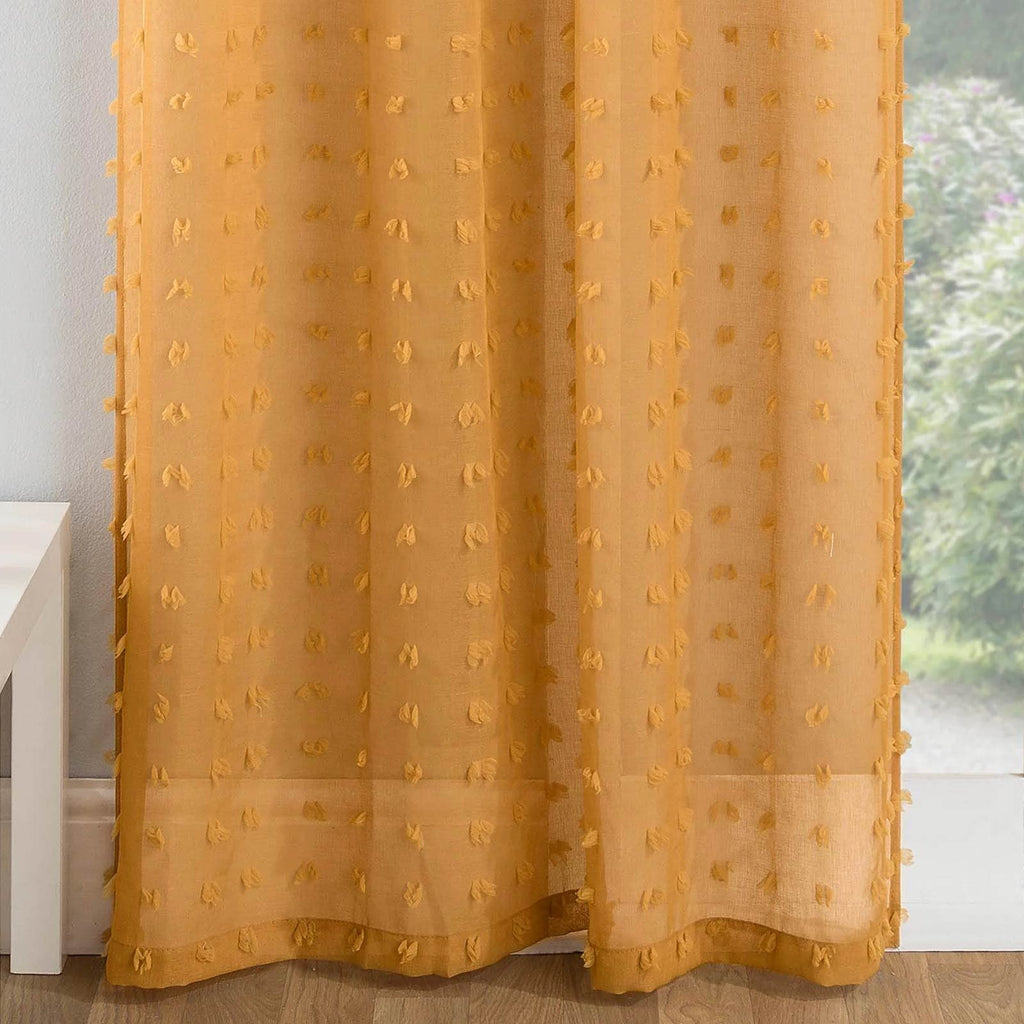 Filigree Voile Curtain Honey / 55'' x 54'' Bali Eyelet Voile Curtain Panels