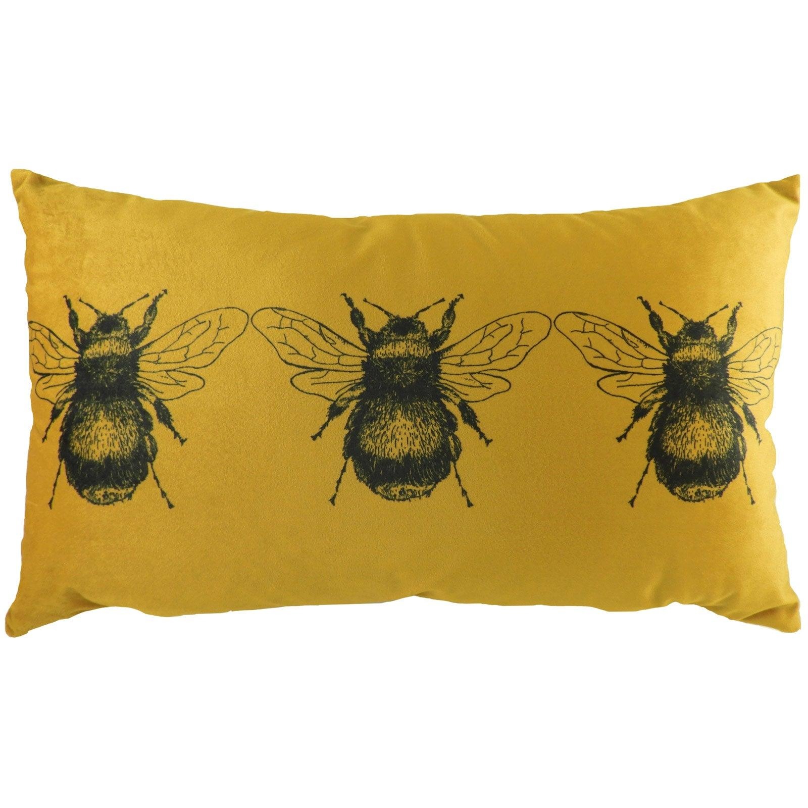 Gold Bee Velvet Gold Boudoir Cushion Covers 12'' x 20'' -  - Ideal Textiles