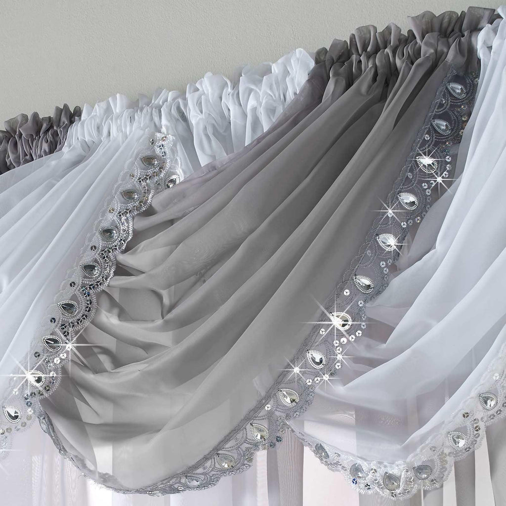 Jewelled Voile Curtain Swags - Ideal Textiles