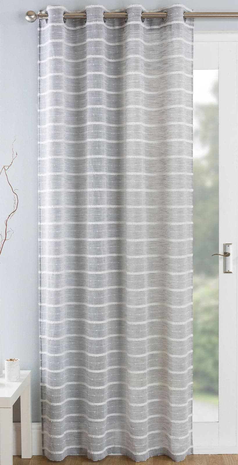Antigua Eyelet Voile Curtain Panels Grey -  - Ideal Textiles