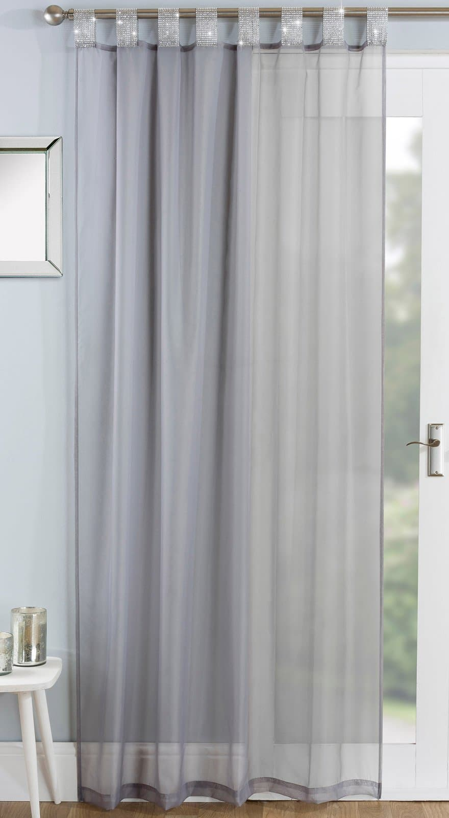 Vegas Diamante Tab Top Voile Curtain Panels Grey -  - Ideal Textiles