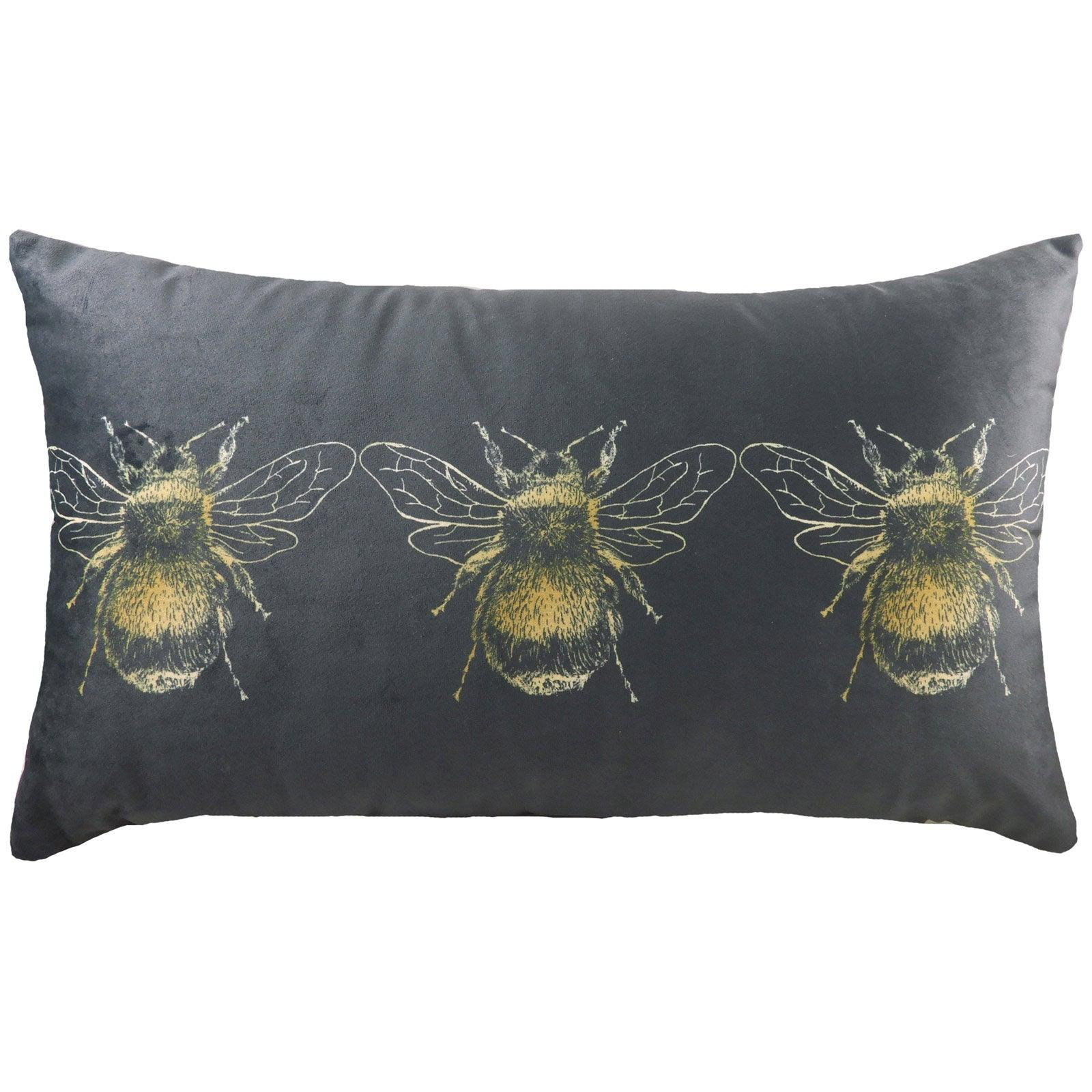 Gold Bee Velvet Grey Boudoir Cushion Covers 12'' x 20'' -  - Ideal Textiles