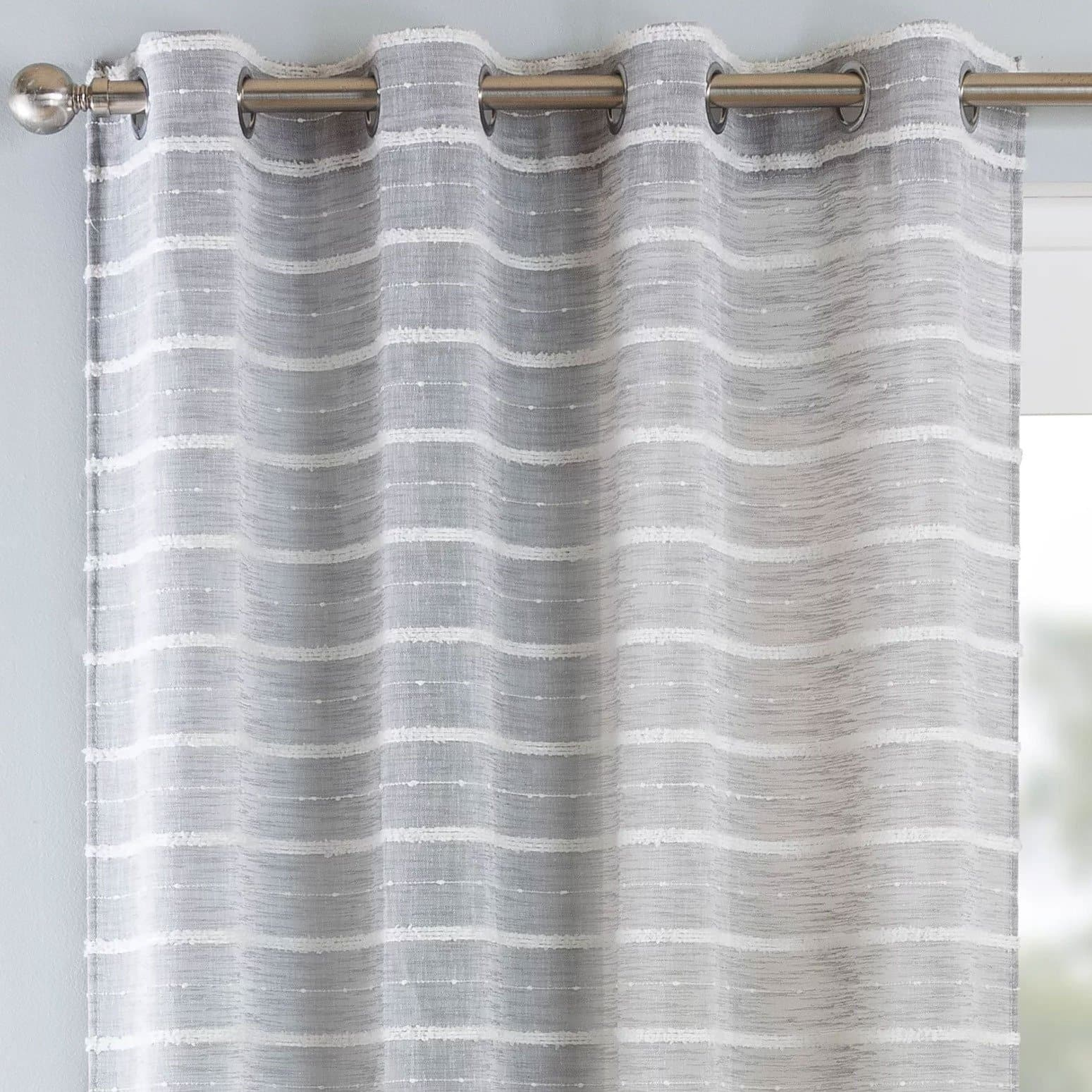 Antigua Eyelet Voile Curtain Panels Grey - 54'' x 54'' - Ideal Textiles