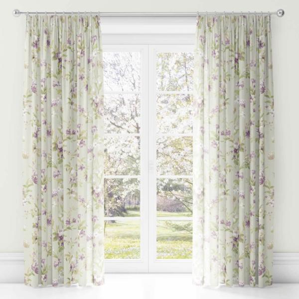 Jeannie Lined Tape Top Curtains Heather