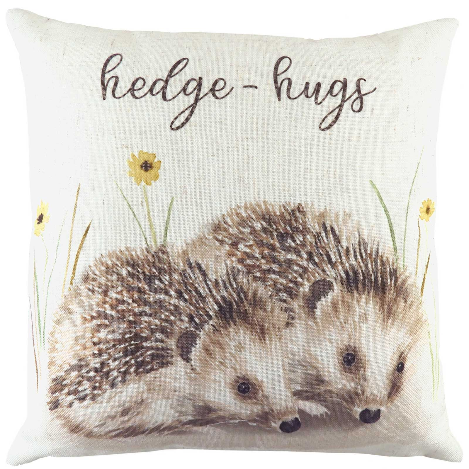 Woodland Hedgehog Hedge-Hugs Natural Cushion Covers 17'' x 17'' -  - Ideal Textiles