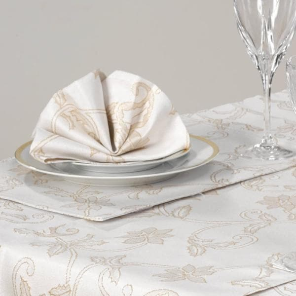 Pack of 2 Glistening Holly Cream & Gold Place Mats - Ideal Textiles