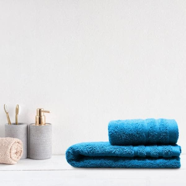 Crieff 100% Cotton 580gsm Towels Kingfisher Blue - Ideal Textiles