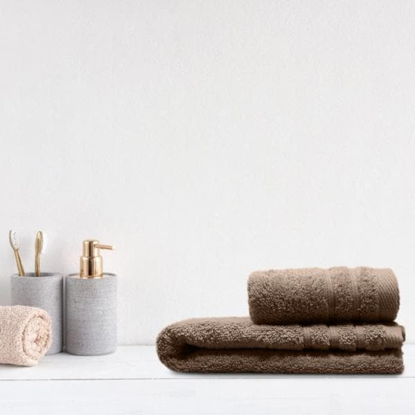 Crieff 100% Cotton 580gsm Towels Stone Beige - Ideal Textiles