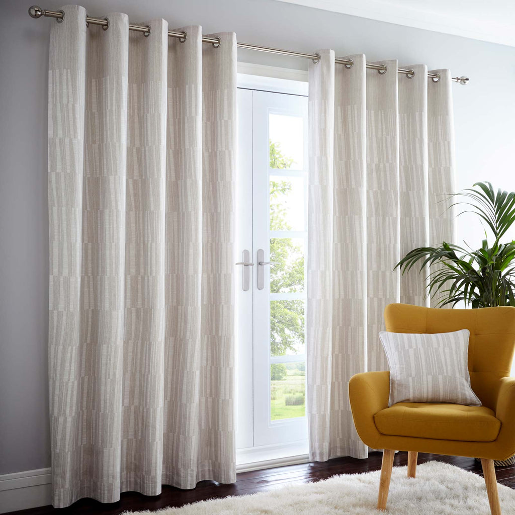 Detroit Lined Eyelet Curtains Linen - Ideal Textiles