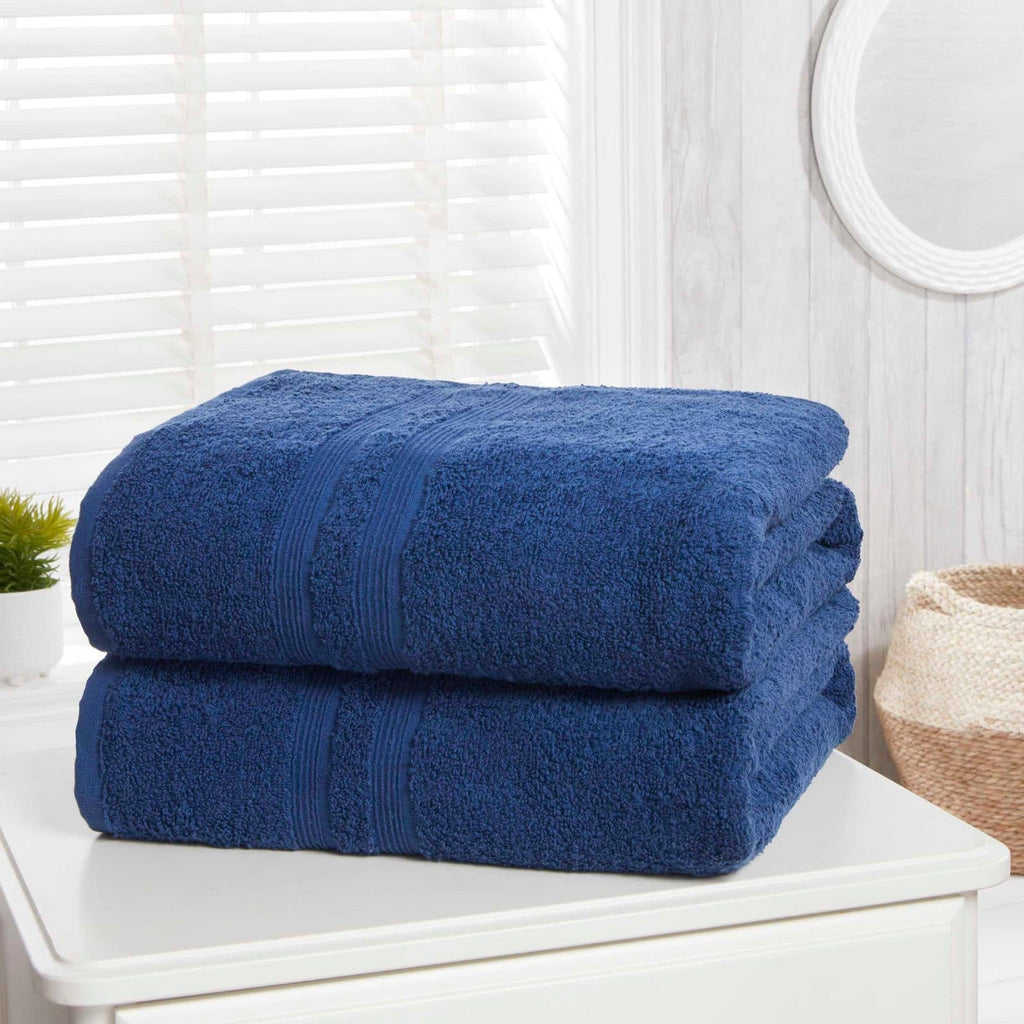 Camden Midnight Blue 2 Piece Bath Sheet Towel Set - Ideal Textiles