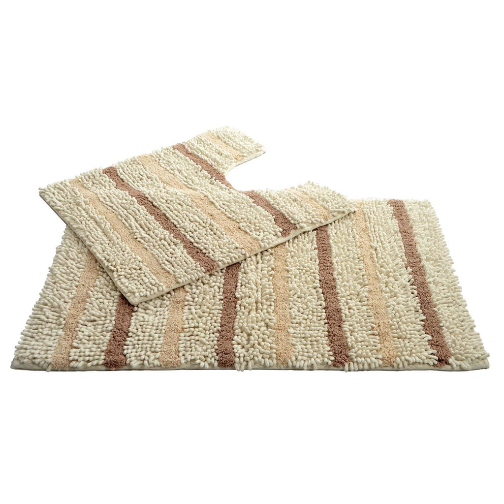 Juno Chenille 2 Piece Pedestal Bath Mat Set Natural - Ideal Textiles