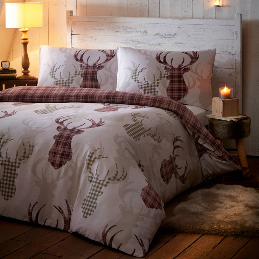 Tartan Stag Reversible Natural Duvet Cover Set - Ideal Textiles