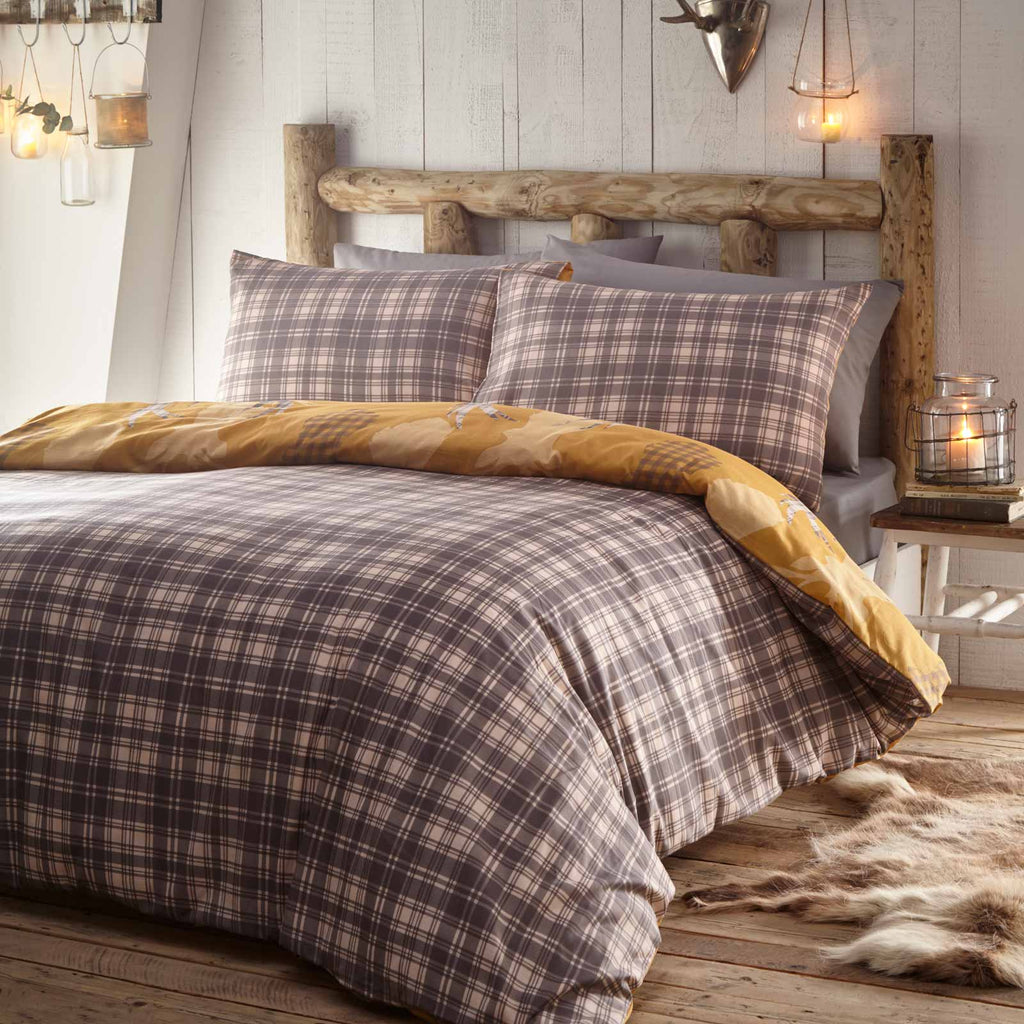 Tartan Stag Reversible Mustard Duvet Cover Set - Ideal Textiles
