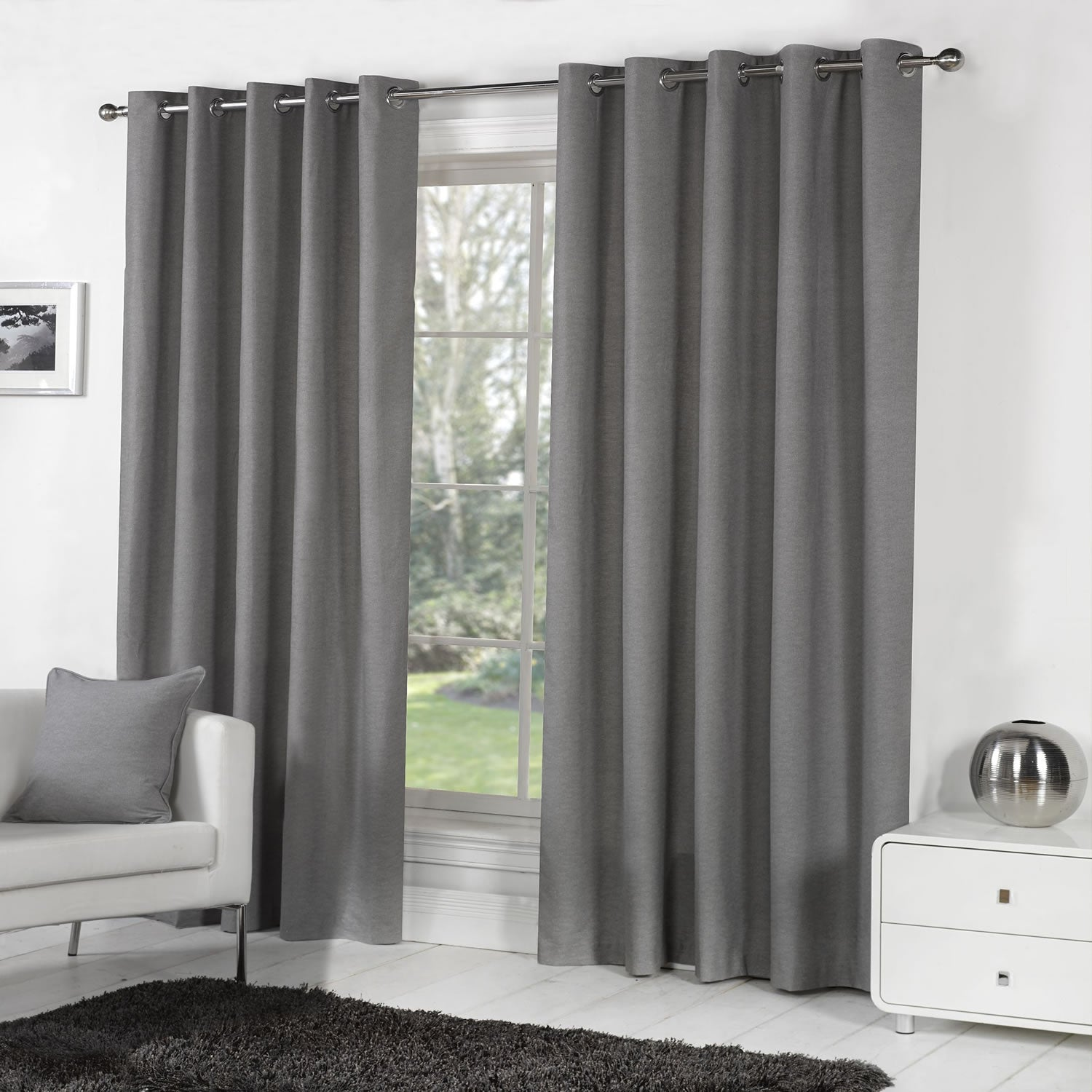 Sorbonne Plain Lined Eyelet Curtains Charcoal - 46'' x 54'' - Ideal Textiles