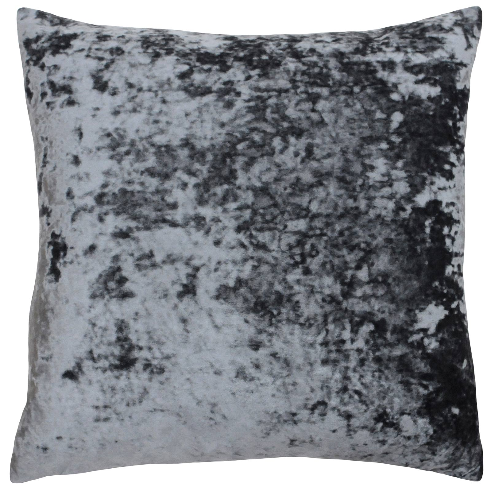 Verona Crushed Velvet Pewter Filled Cushions 22'' x 22'' - Polyester Pad - Ideal Textiles