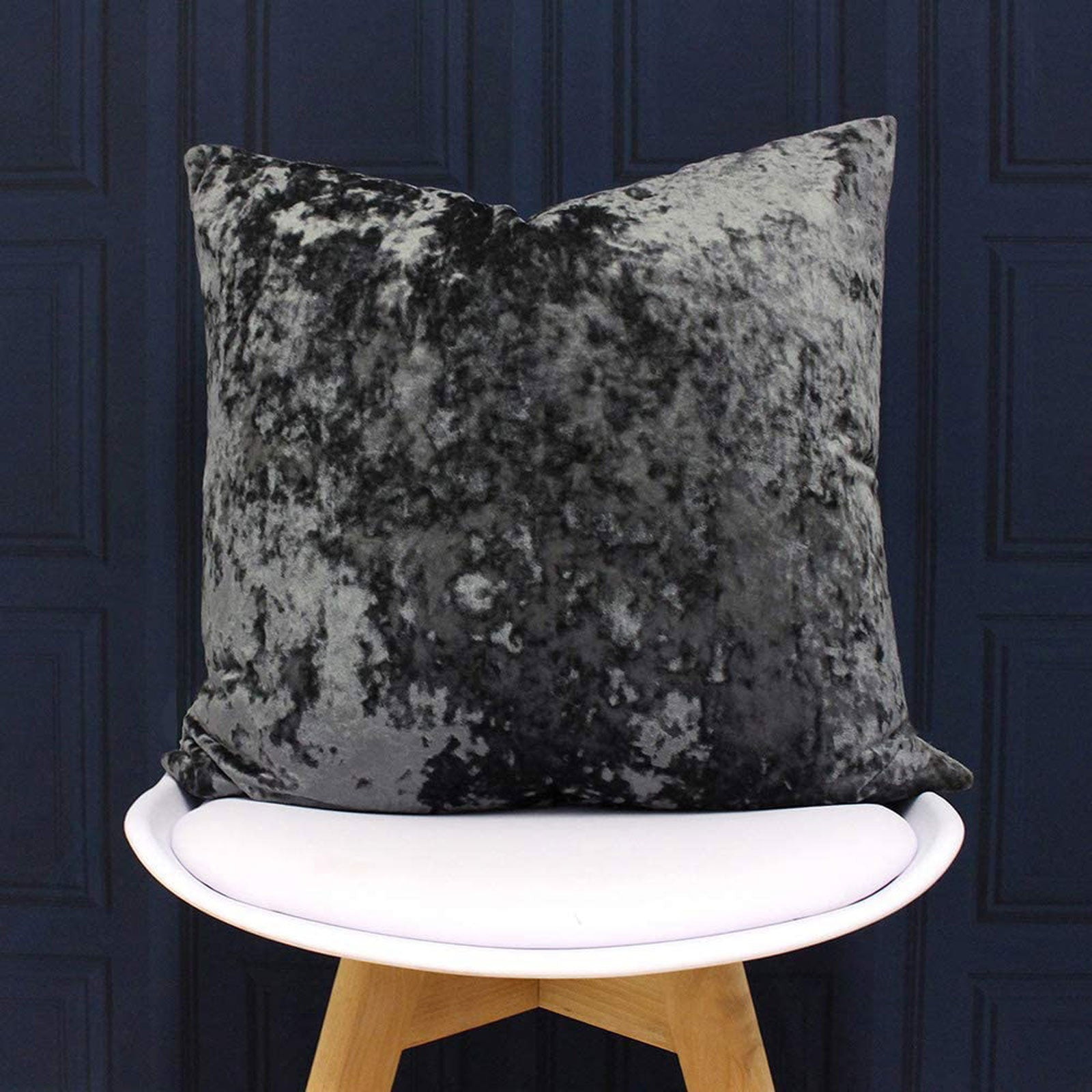 Verona Crushed Velvet Pewter Filled Cushions 22'' x 22'' -  - Ideal Textiles