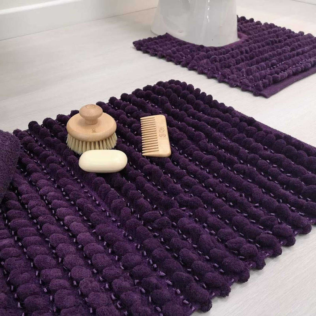 Sparkle Bobble Bath & Pedestal Bathroom Mats Purple - Ideal Textiles