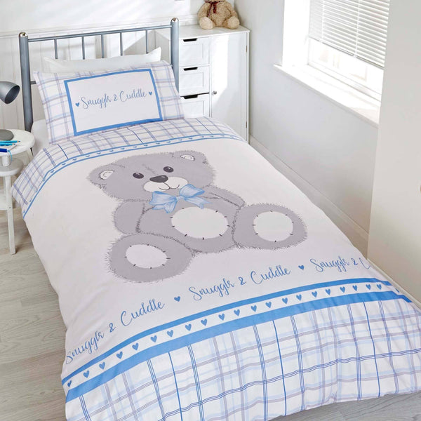 Rapport Kid's Bedding Single Snuggle & Cuddle Teddy Duvet Covers Blue