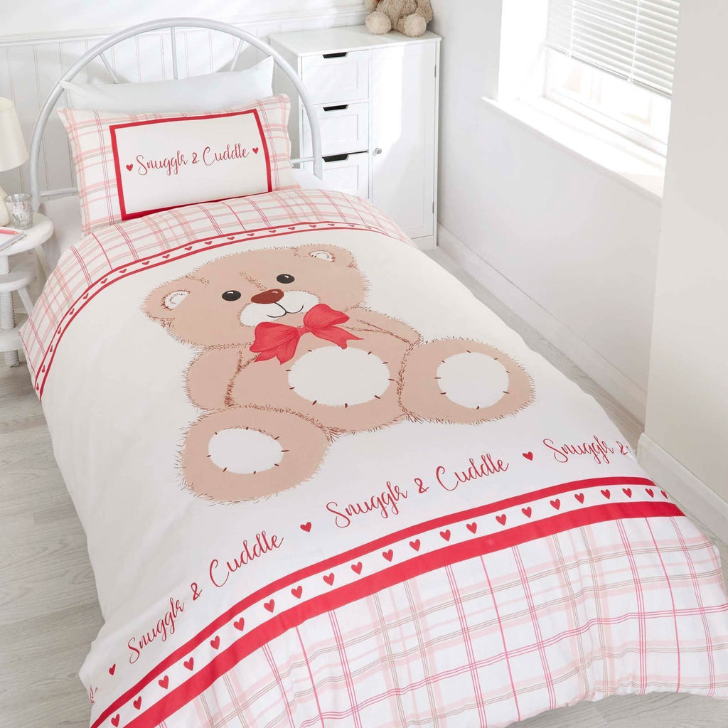 Snuggle & Cuddle Teddy Bear Pink Kids Duvet Cover Set - Ideal Textiles