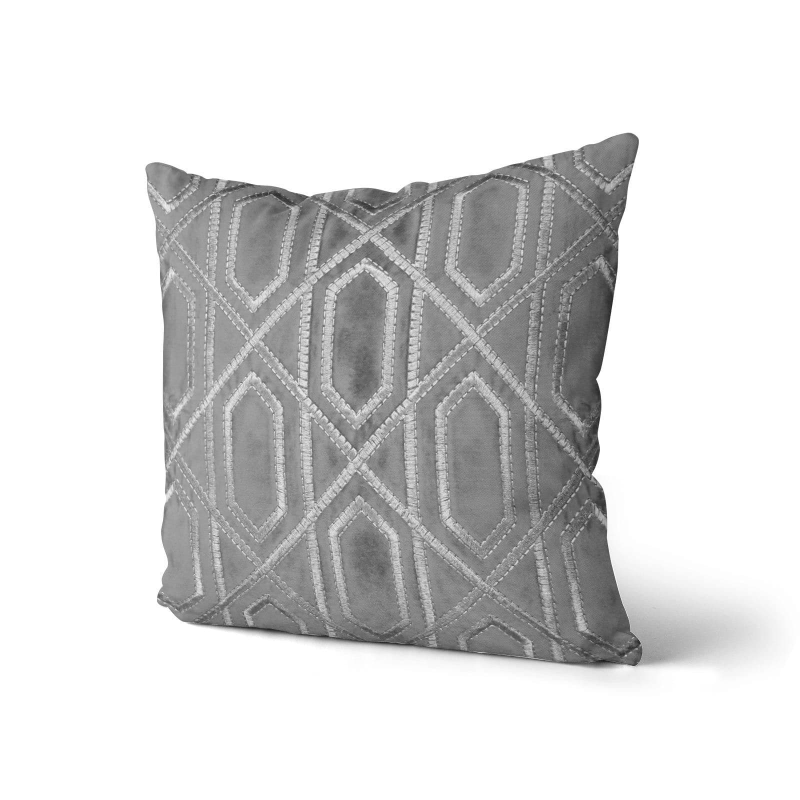 "Chelsea Velvet Cushions Grey 17"" x 17"" -  - Ideal Textiles"