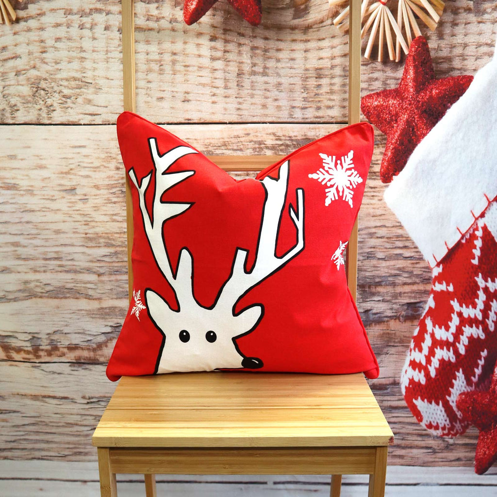 Candy Cane Rudi Christmas Fleece Throws & Cushion Covers - Ideal Textiles