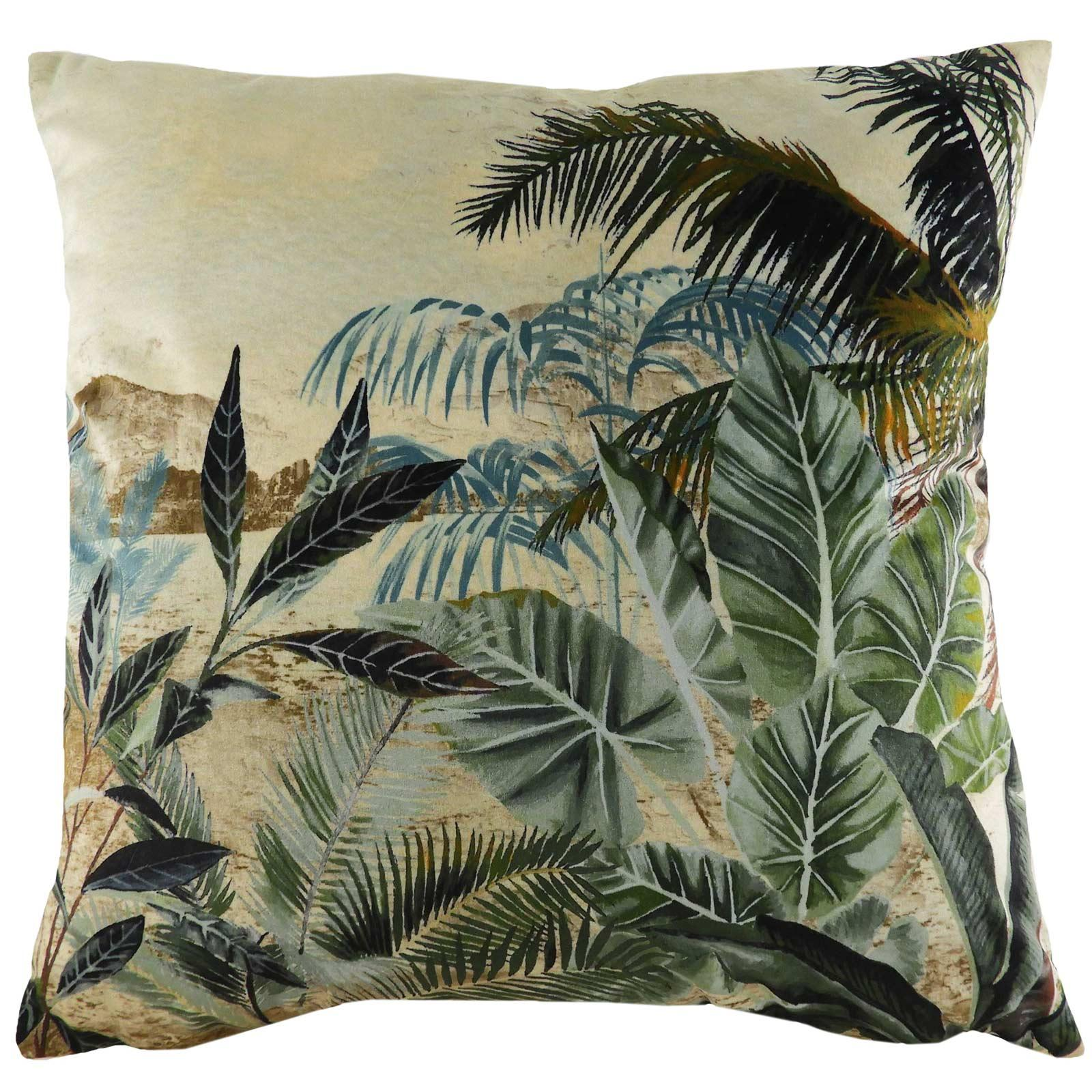 Kibale Vintage Jungle Scene Print Green Cushion Covers 17'' x 17'' -  - Ideal Textiles