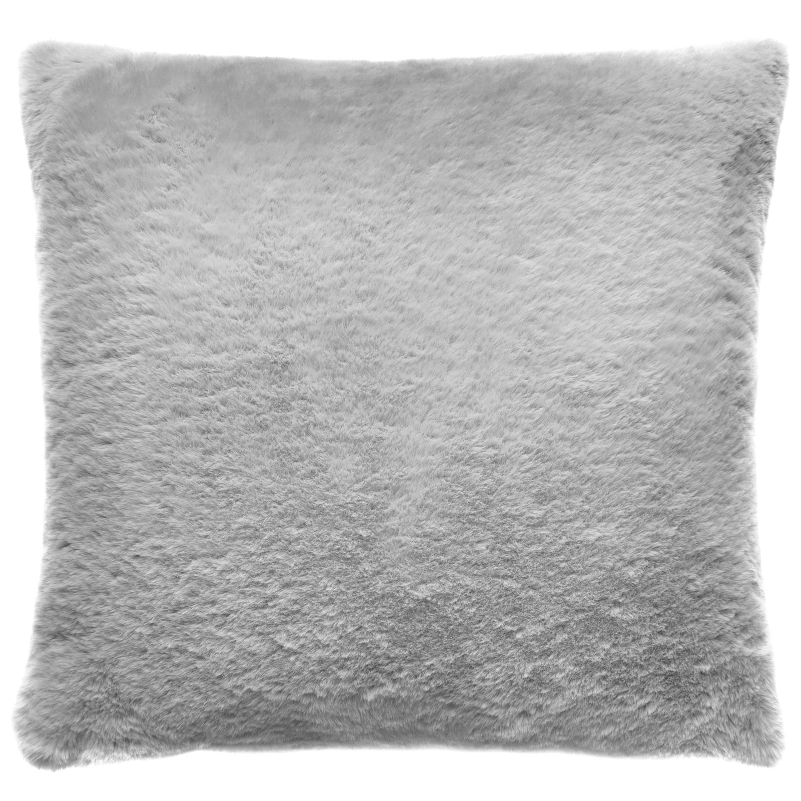 Ava Faux Fur Silver Square Filled Cushion -  - Ideal Textiles