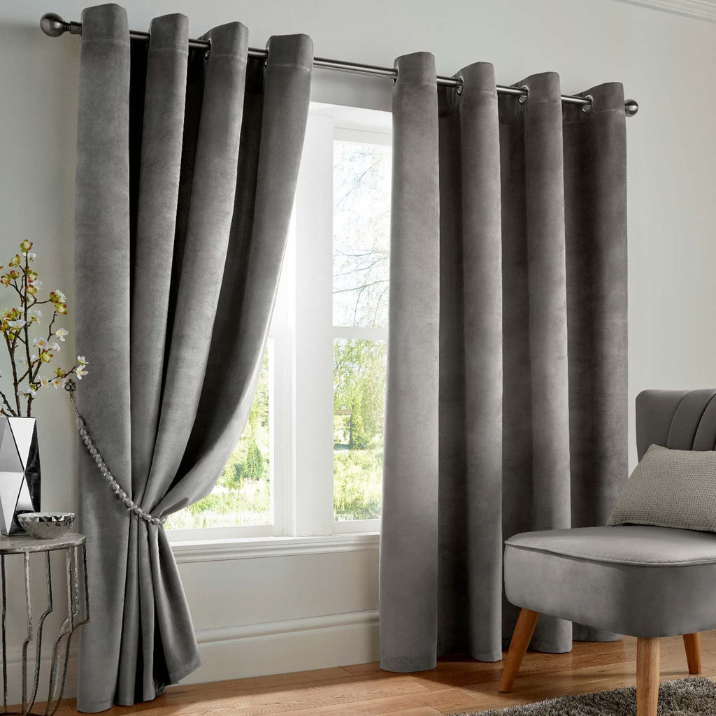 Velvet Blackout Thermal Eyelet Curtains Silver