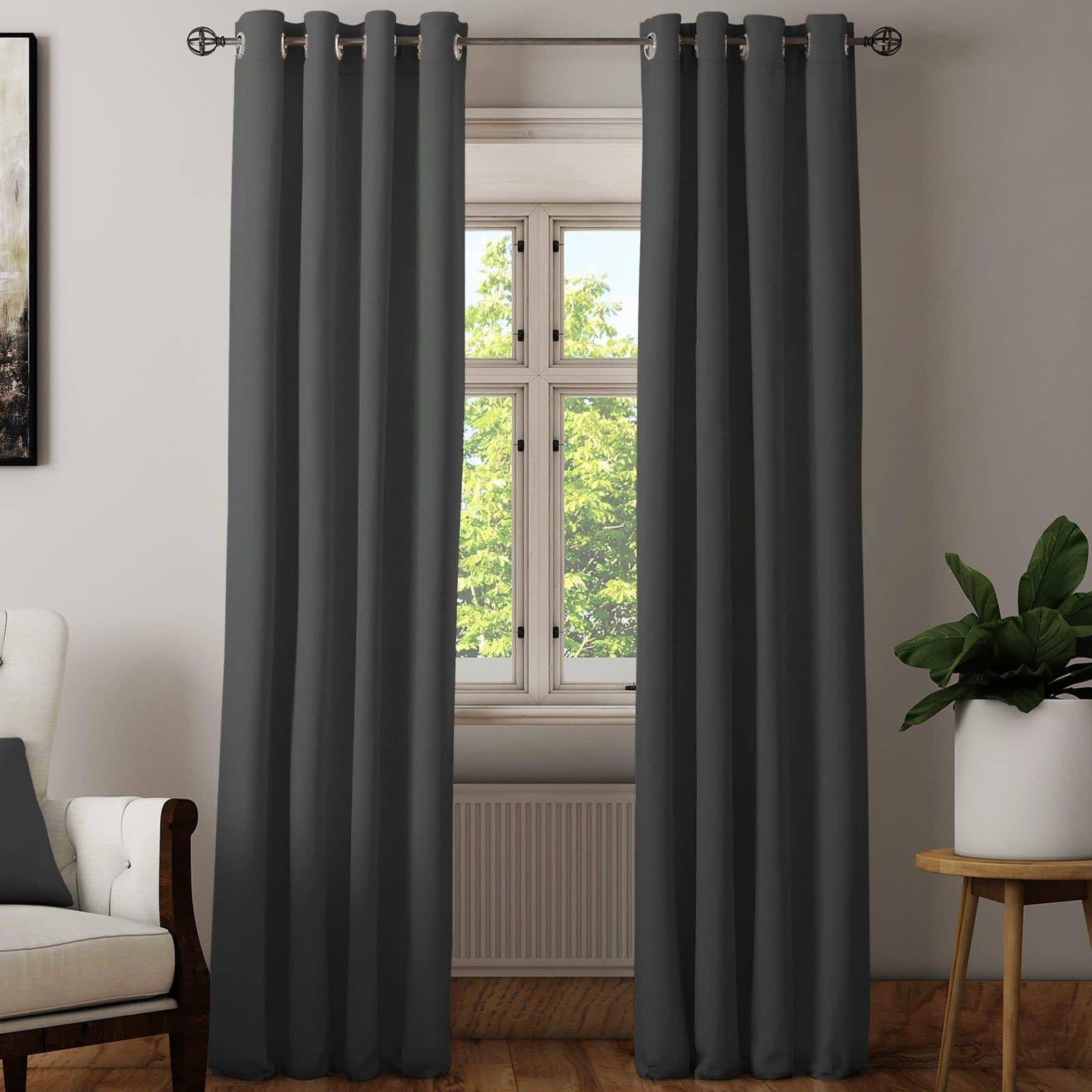 Hudson Plain Block-Out Thermal Eyelet Curtains Charcoal - 46'' x 54'' - Ideal Textiles