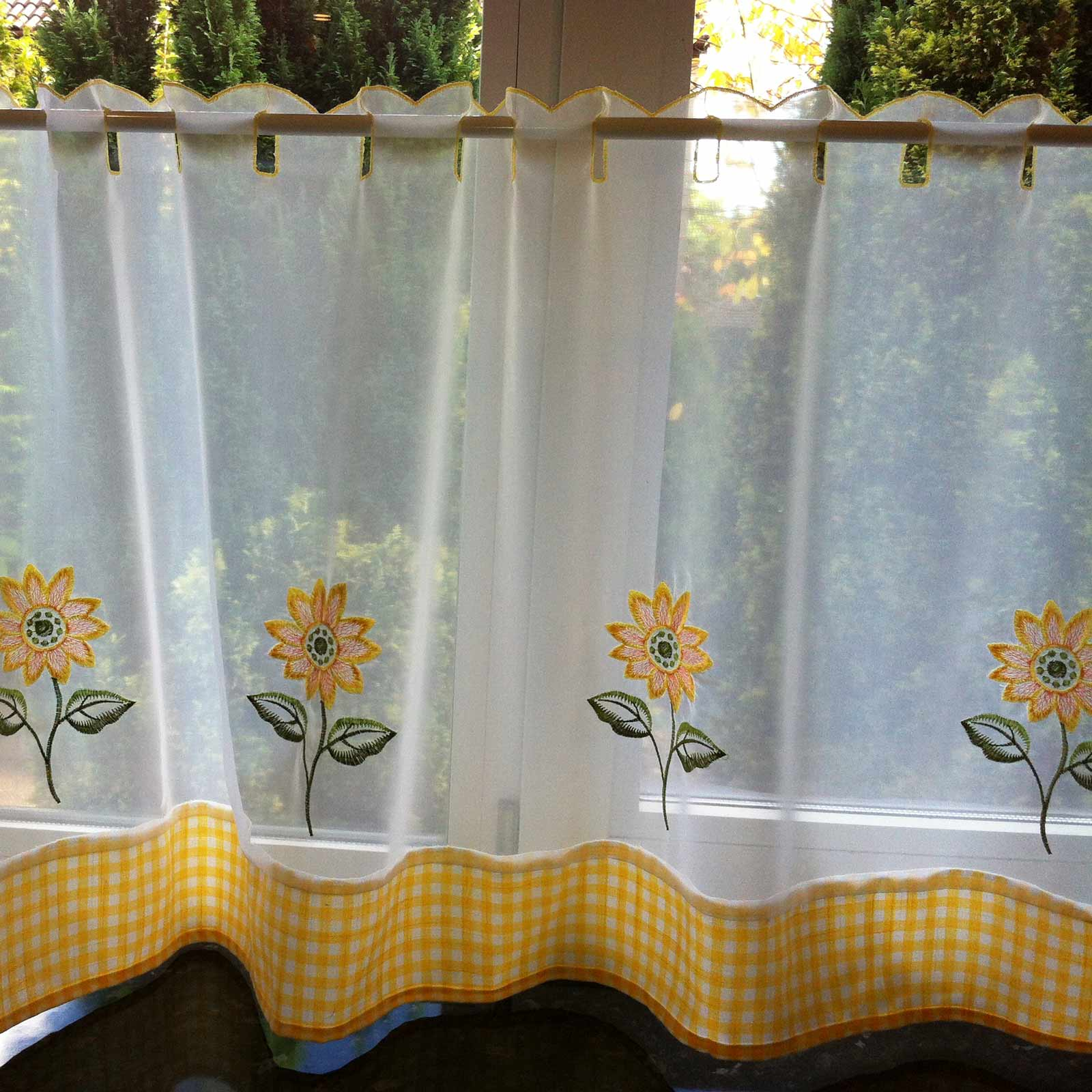 Sunflower Embroidered Yellow Voile Café Curtain Panels - 59'' x 18'' - Ideal Textiles