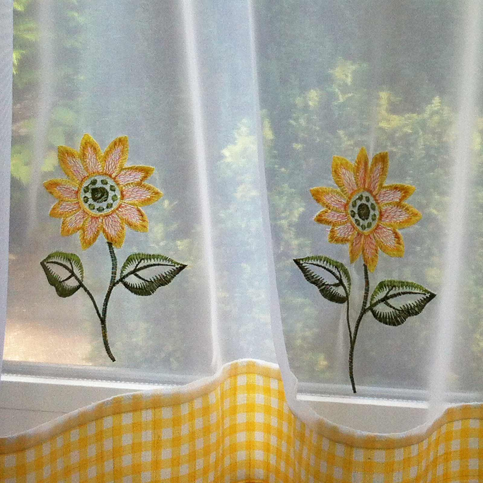 Sunflower Embroidered Yellow Voile Café Curtain Panels -  - Ideal Textiles