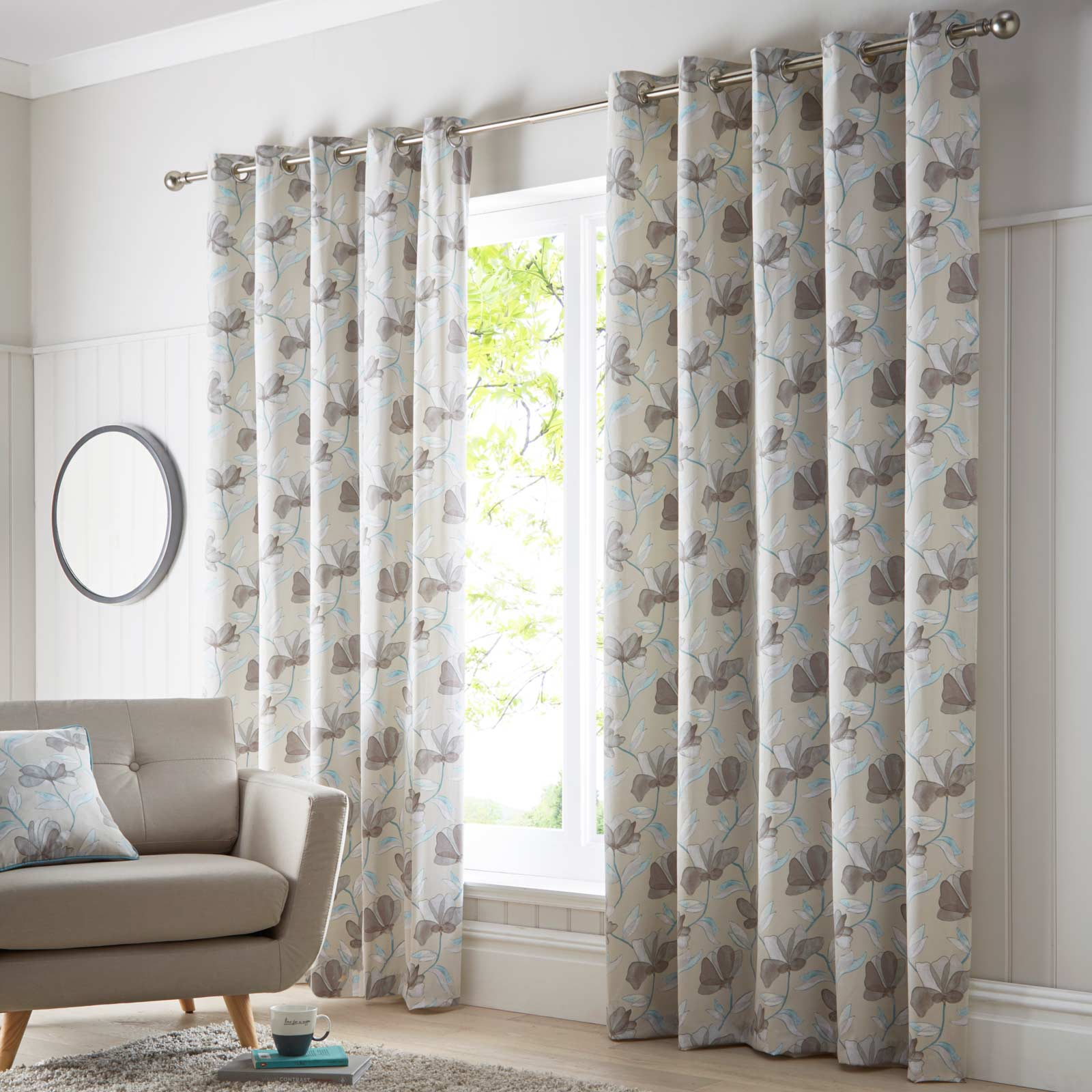 Springfield Lined Eyelet Curtains Teal - 46'' x 54'' - Ideal Textiles