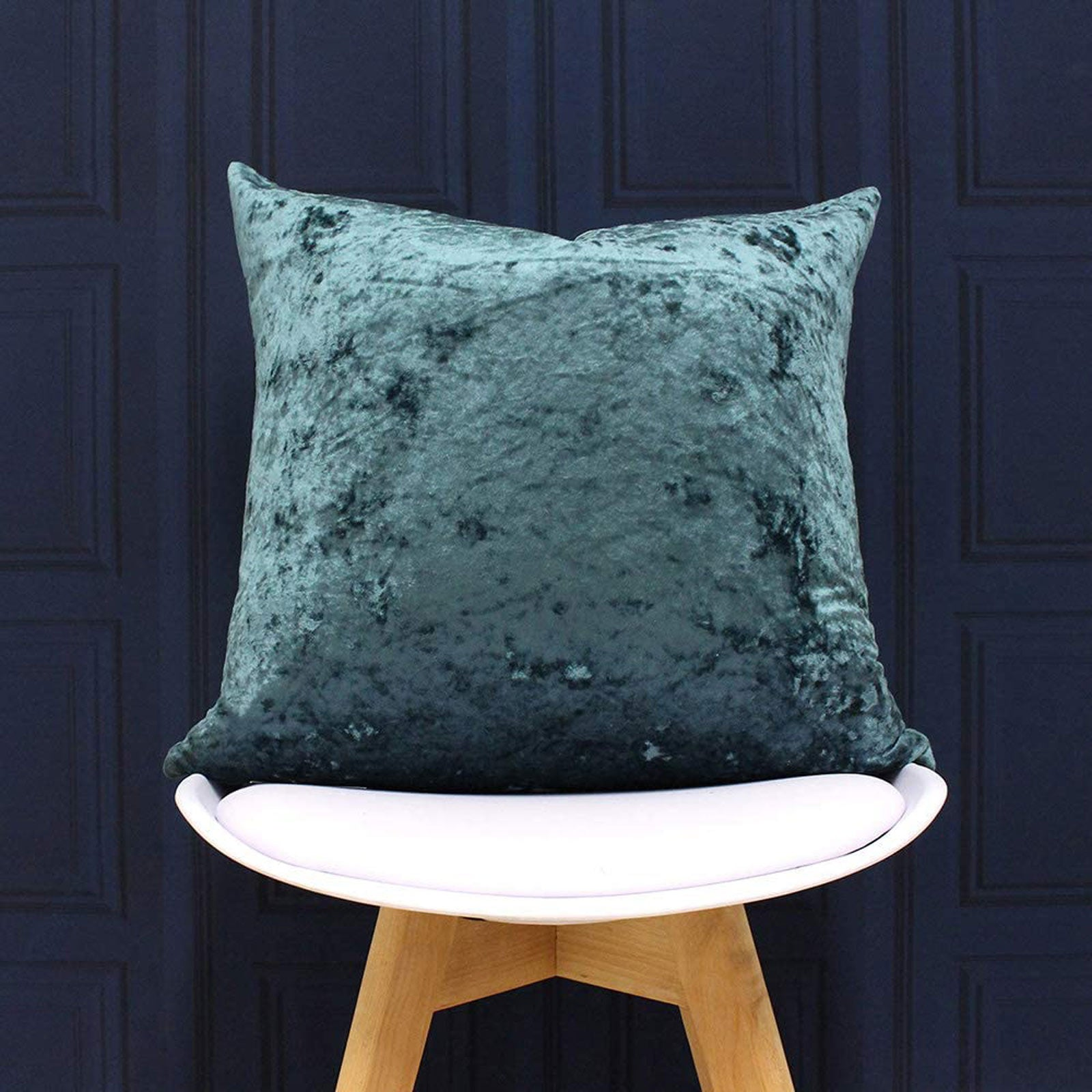Verona Crushed Velvet Teal Filled Cushions 22'' x 22'' -  - Ideal Textiles