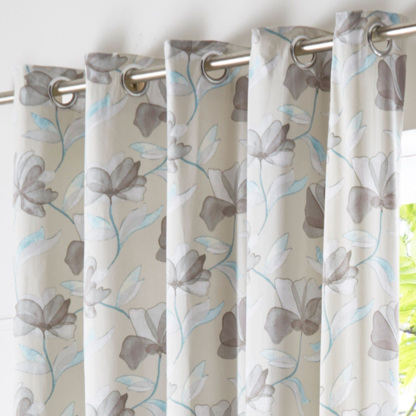 Springfield Lined Eyelet Curtains Teal -  - Ideal Textiles