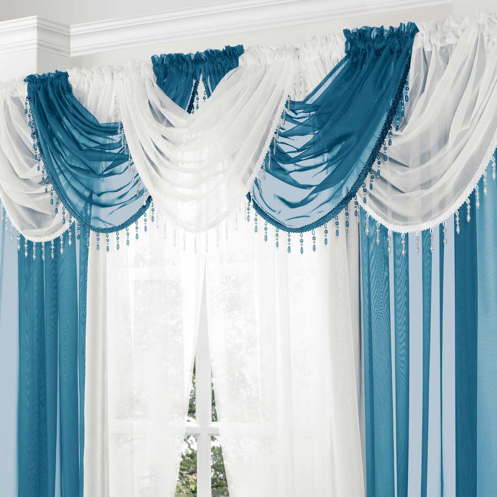 Beaded Plain Voile Curtain Swags - Ideal Textiles