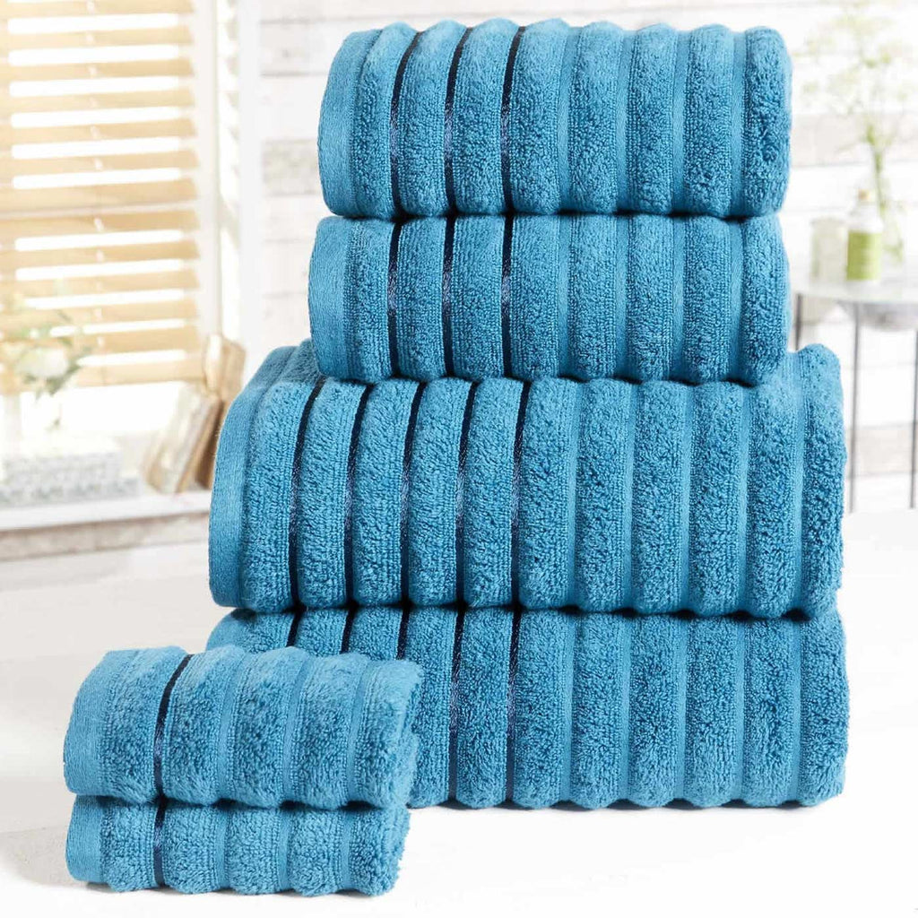 Ribbed 6 Piece Towel Bale Teal - Ideal Textiles