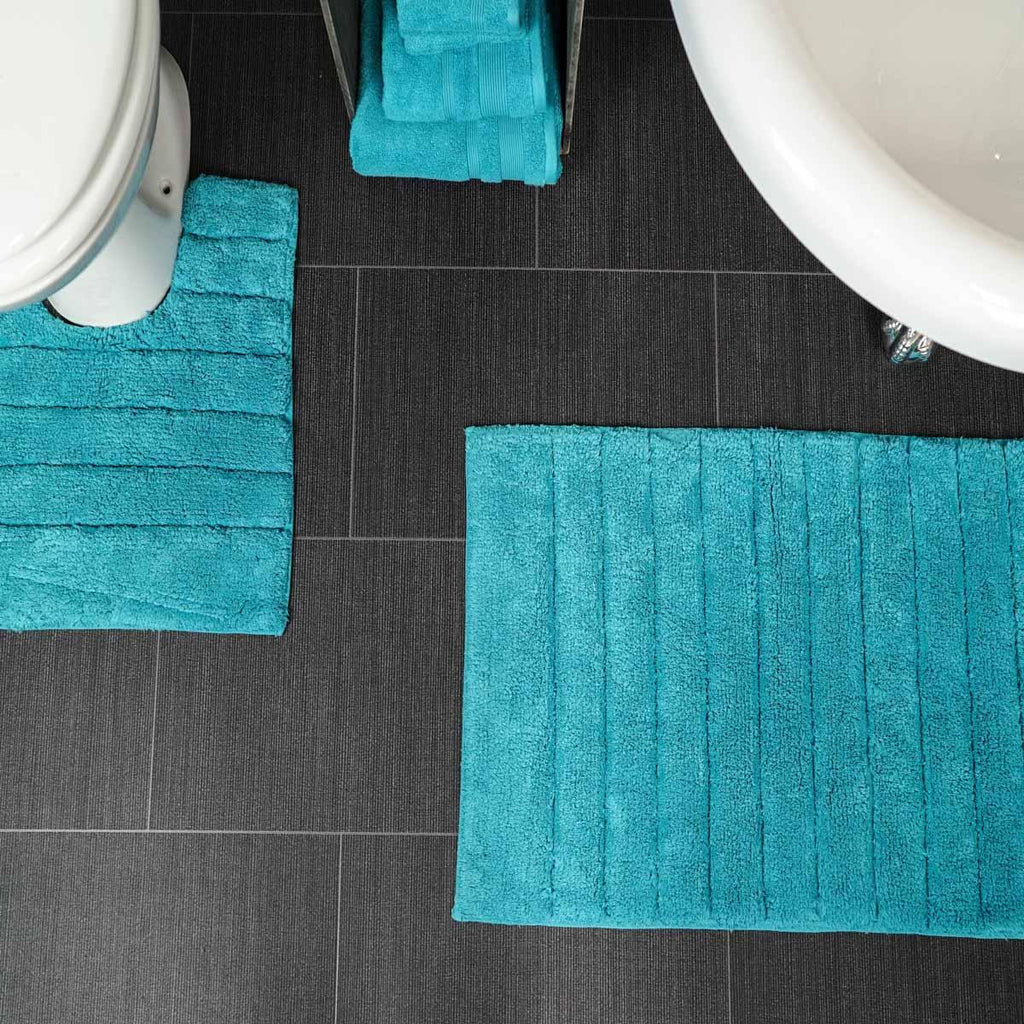 Linear Rib 100% Cotton 2 Piece Pedestal Bath Mat Sets - Ideal Textiles