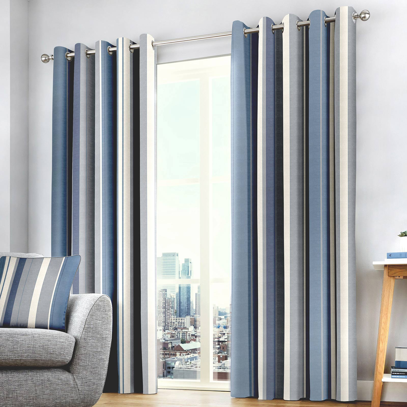 Whitworth Stripe Lined Eyelet Curtains Blue - 46'' x 54'' - Ideal Textiles
