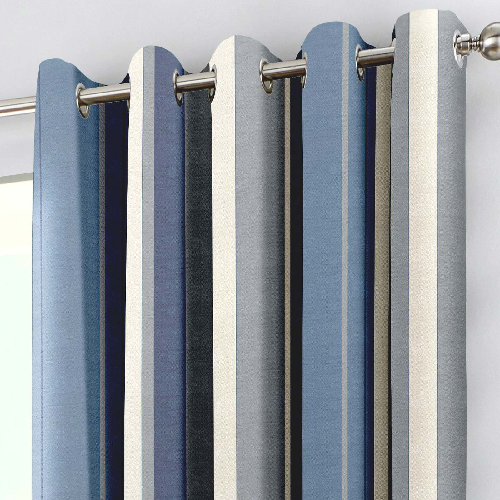 Whitworth Stripe Lined Eyelet Curtains Blue -  - Ideal Textiles