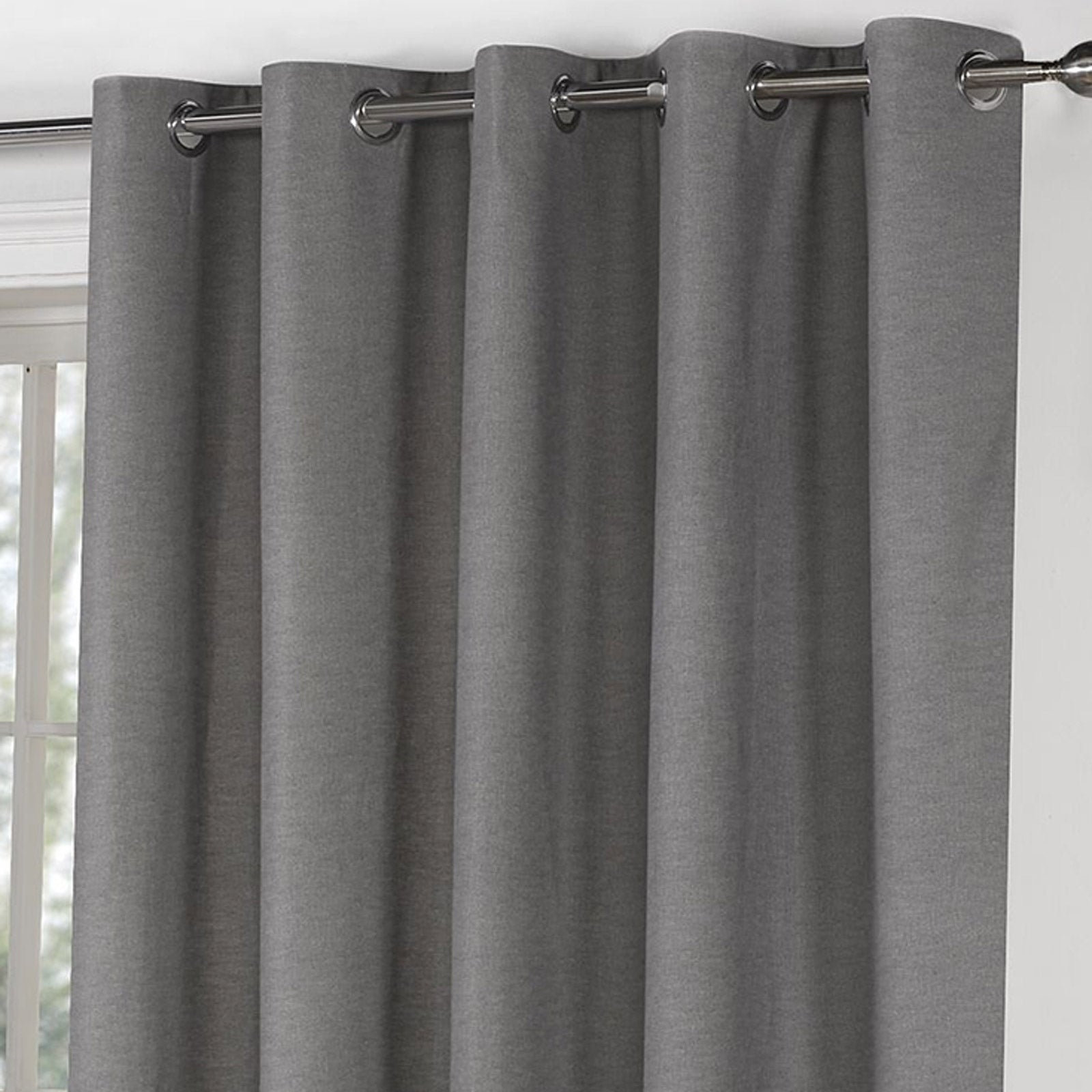 Sorbonne Plain Lined Eyelet Curtains Charcoal -  - Ideal Textiles