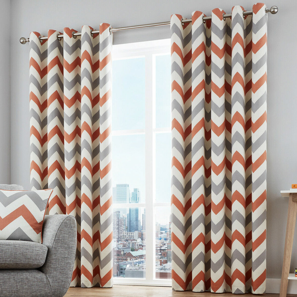 Chevron Stripe Lined Eyelet Curtains Terracotta - 46'' x 54'' - Ideal Textiles